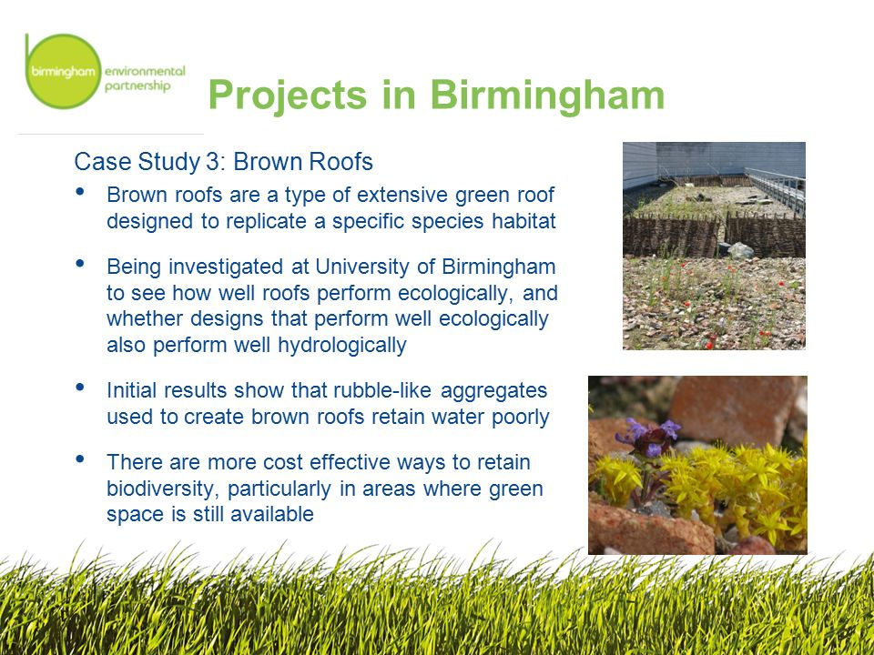 Projects in Birmingham Case Study 3: Brown Roofs Brown roofs are a type of extensive green roof designed to replicate a specific species habitat Being investigated at University of Birmingham to see how well roofs perform ecologically, and whether designs that perform well ecologically also perform well hydrologically Initial results show that rubble-like aggregates used to create brown roofs retain water poorly There are more cost effective ways to retain biodiversity, particularly in areas where green space is still available