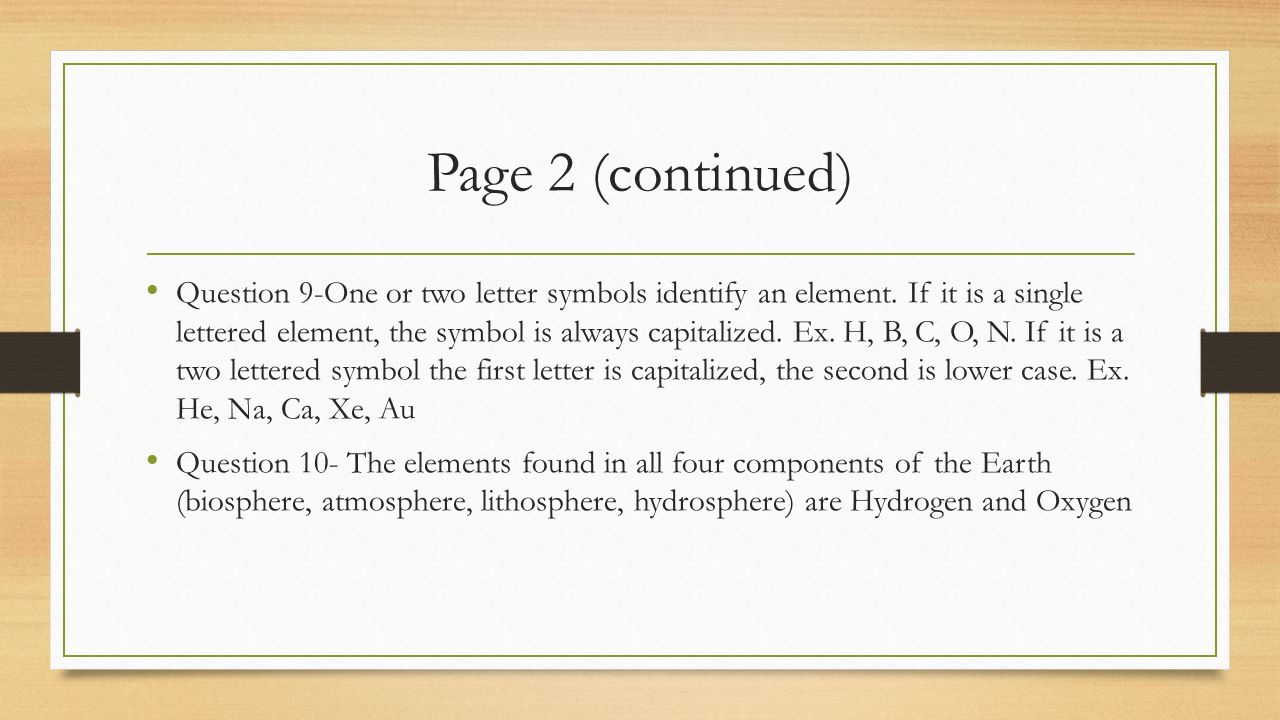 65abc elements and compounds question answers p ppt download page 2 continued question 9 one or two letter symbols identify an element biocorpaavc