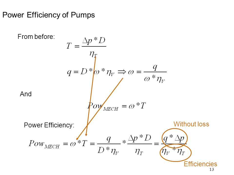 13 Power Efficiency of Pumps From before: And Power Efficiency: Without loss Efficiencies