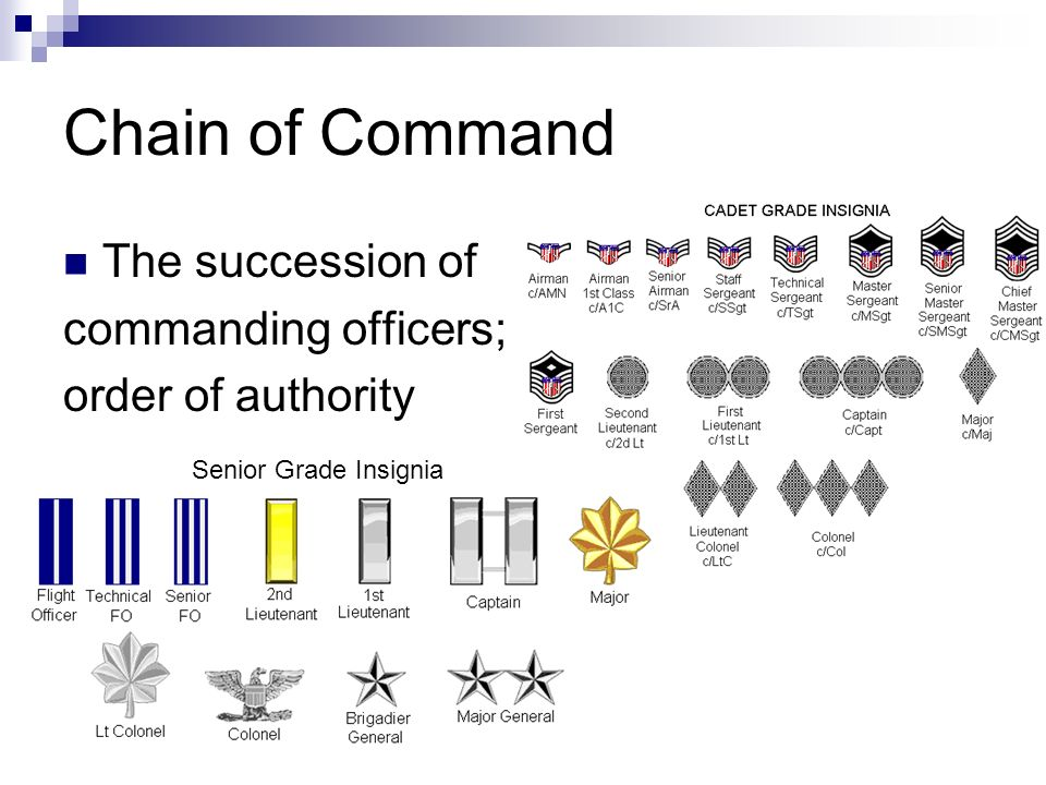 Chain of Command The succession of commanding officers; order of authority Senior Grade Insignia