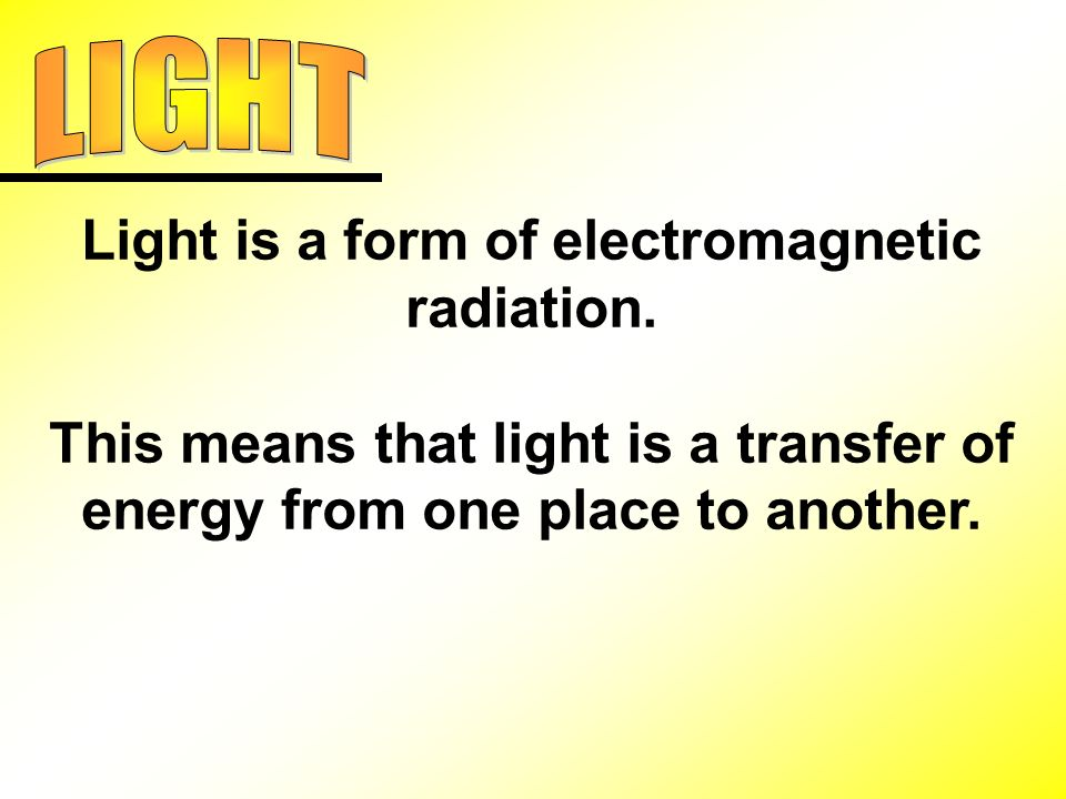 Light is a form of electromagnetic radiation.