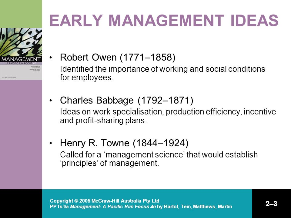 Copyright  2005 McGraw-Hill Australia Pty Ltd PPTs t/a Management: A Pacific Rim Focus 4e by Bartol, Tein, Matthews, Martin 2–3 EARLY MANAGEMENT IDEAS Robert Owen (1771–1858) Identified the importance of working and social conditions for employees.