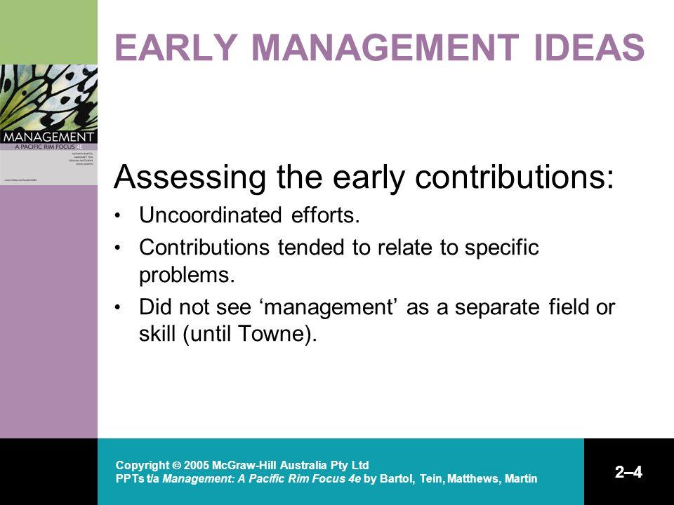 Copyright  2005 McGraw-Hill Australia Pty Ltd PPTs t/a Management: A Pacific Rim Focus 4e by Bartol, Tein, Matthews, Martin 2–4 EARLY MANAGEMENT IDEA