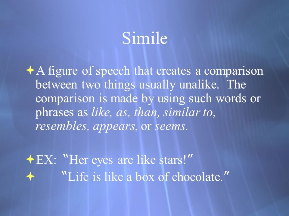 Simile  A figure of speech that creates a comparison between two things usually unalike.