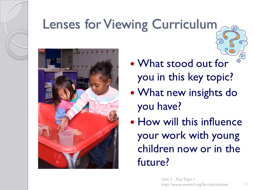 Lenses for Viewing Curriculum What stood out for you in this key topic.