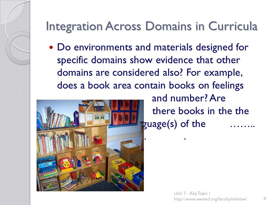 Integration Across Domains in Curricula Do environments and materials designed for specific domains show evidence that other domains are considered al