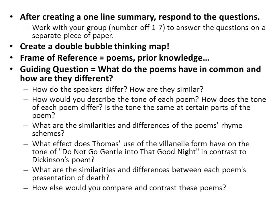 similarities and differences in the poems