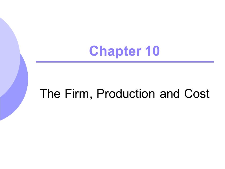 Chapter 10 The Firm, Production and Cost. Forms of Business ...