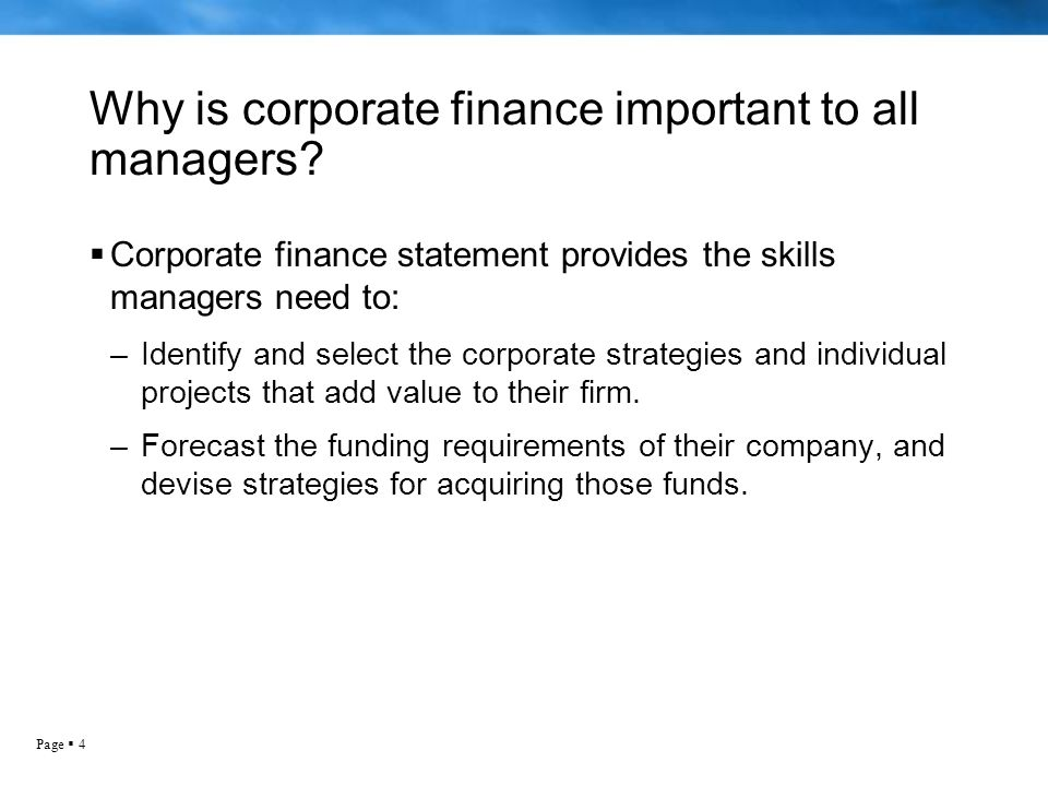 why corporate finance is important