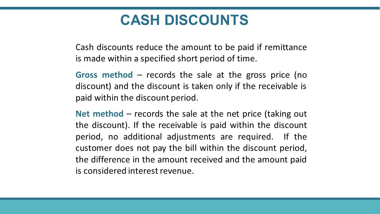 accounts receivable and cash discount