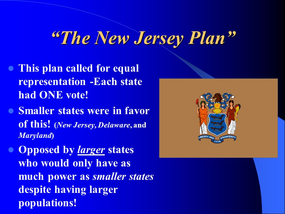 The New Jersey Plan This plan called for equal representation -Each state had ONE vote.
