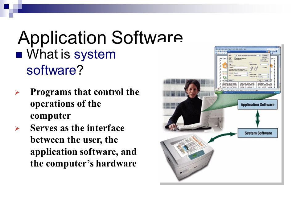 application software Application software are computer programs that allow users to perform specific tasks these programs are commonly referred to as apps, and are usually completely self-contained and commercially.