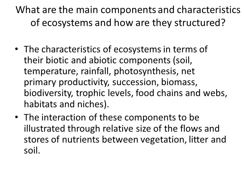 What are the main components and characteristics of ecosystems and how are they structured.