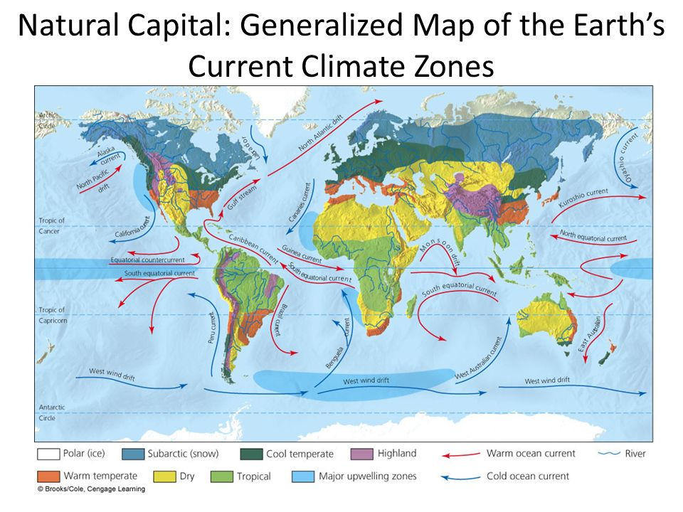 Natural Capital: Generalized Map of the Earth's Current Climate Zones