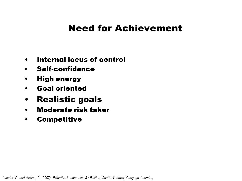 Need for Achievement Internal locus of control Self-confidence High energy Goal oriented Realistic goals Moderate risk taker Competitive Lussier, R.