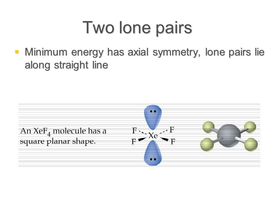Two lone pairs  Minimum energy has axial symmetry, lone pairs lie along straight line