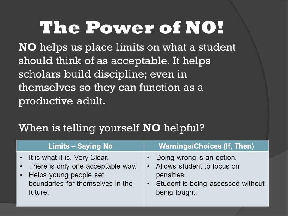 The Power of NO. NO helps us place limits on what a student should think of as acceptable.