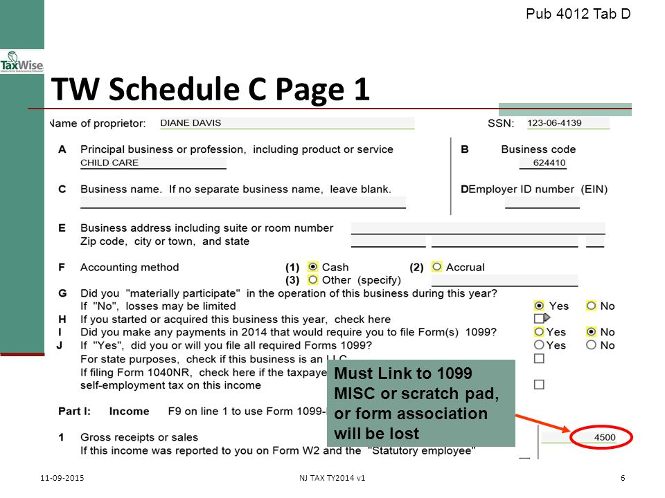 Business Income Schedule C Pub 4012, Tab D (Federal 1040-Line 12