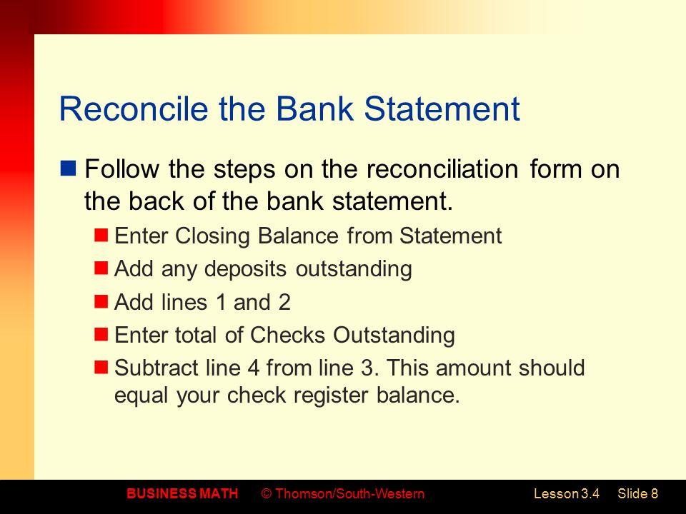 check reconciliation form