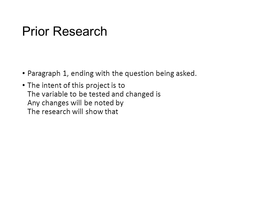 Prior Research Paragraph 1, ending with the question being asked.