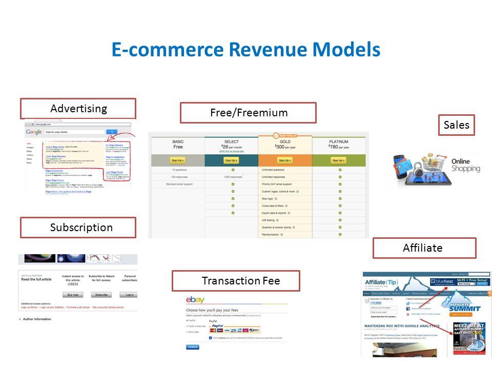 E-commerce Revenue Models Advertising Sales Subscription Free/Freemium Transaction Fee Affiliate