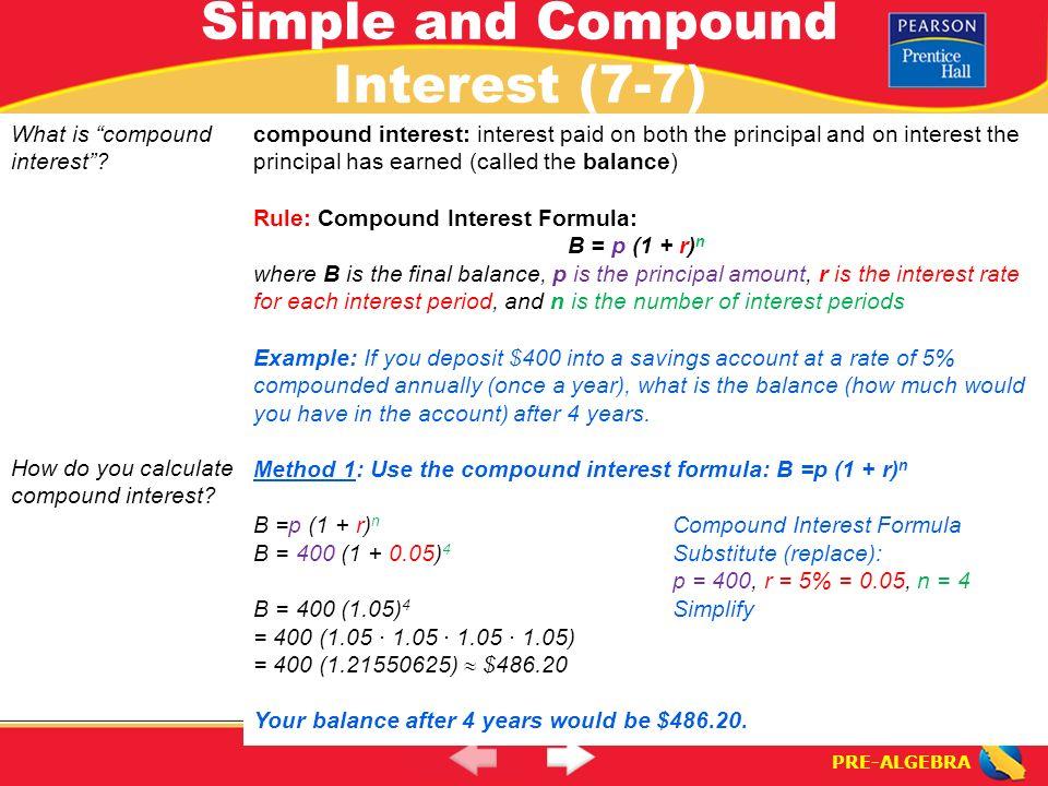 PRE-ALGEBRA. Lesson 7-7 Warm-Up PRE-ALGEBRA Simple and Compound ...