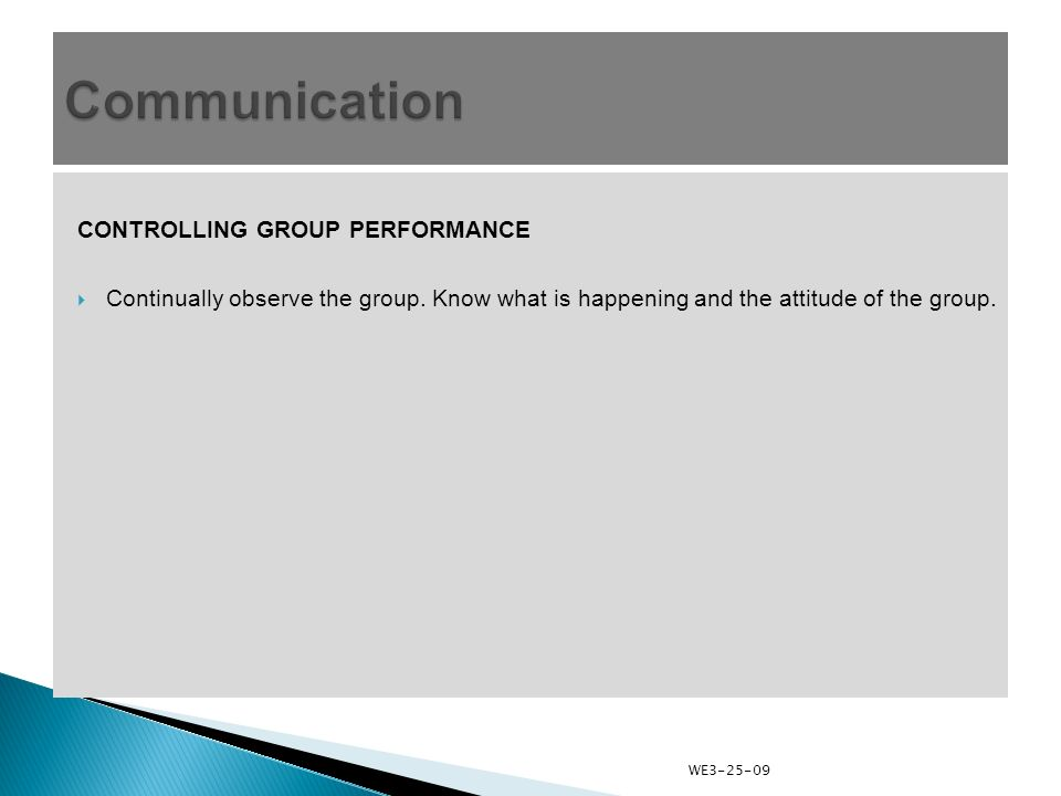 CONTROLLING GROUP PERFORMANCE  Continually observe the group.
