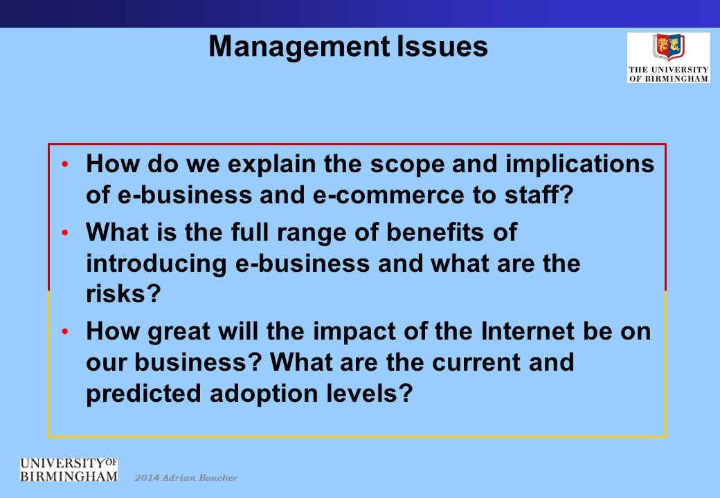 2014 Adrian Boucher Management Issues How do we explain the scope and implications of e-business and e-commerce to staff.