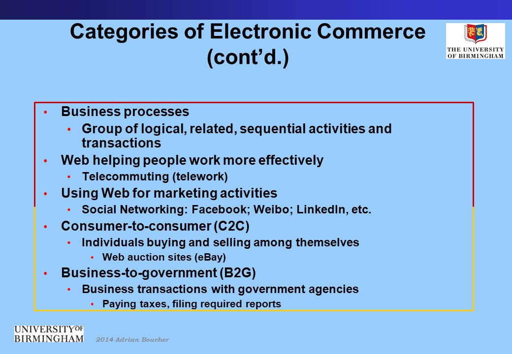 2014 Adrian Boucher Categories of Electronic Commerce (cont'd.) Business processes Group of logical, related, sequential activities and transactions Web helping people work more effectively Telecommuting (telework) Using Web for marketing activities Social Networking: Facebook; Weibo; LinkedIn, etc.