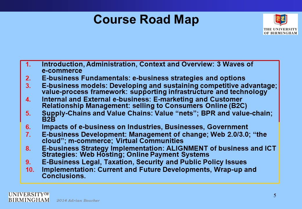2014 Adrian Boucher 5 Course Road Map 1.