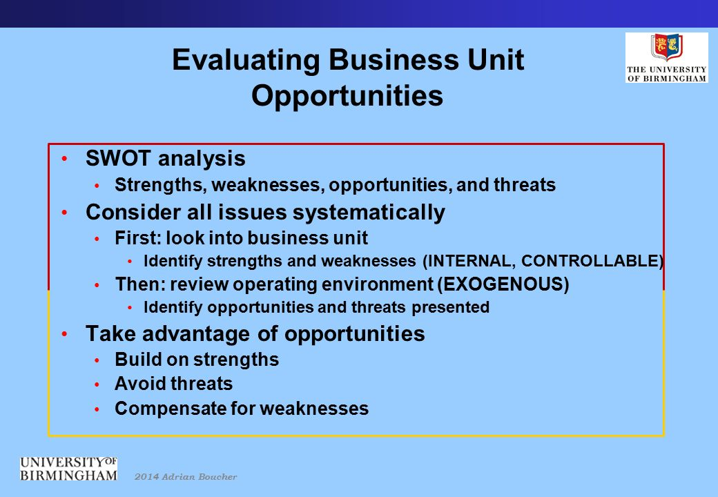 2014 Adrian Boucher Evaluating Business Unit Opportunities SWOT analysis Strengths, weaknesses, opportunities, and threats Consider all issues systematically First: look into business unit Identify strengths and weaknesses (INTERNAL, CONTROLLABLE) Then: review operating environment (EXOGENOUS) Identify opportunities and threats presented Take advantage of opportunities Build on strengths Avoid threats Compensate for weaknesses