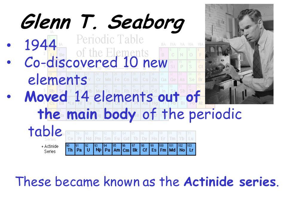 Periodic Table glenn seaborg contributions to the modern periodic table : The History of the Modern Periodic Table Homework Notes: November ...