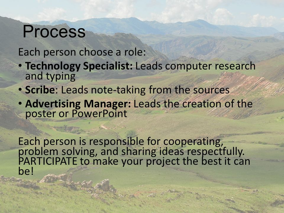 Process Each person choose a role: Technology Specialist: Leads computer research and typing Scribe: Leads note-taking from the sources Advertising Manager: Leads the creation of the poster or PowerPoint Each person is responsible for cooperating, problem solving, and sharing ideas respectfully.