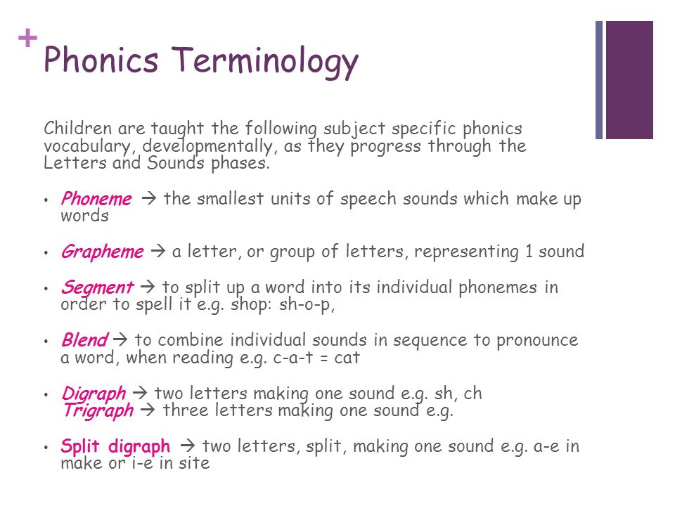 Phonics Terminology Children Are Taught The Following Subject Specific Vocabulary Developmentally As