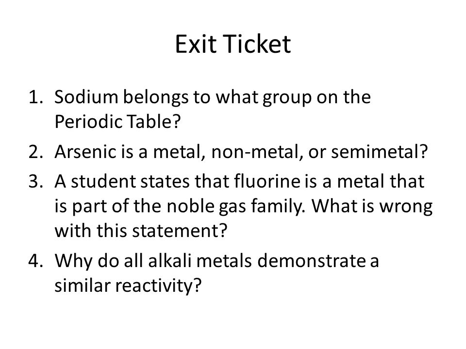 Periodic Table what family does arsenic belong to on the periodic table : Catalyst 1. List an element from the following groups: alkali ...