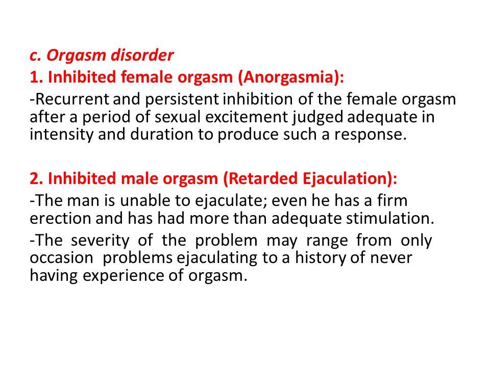 Inhibited female orgasm