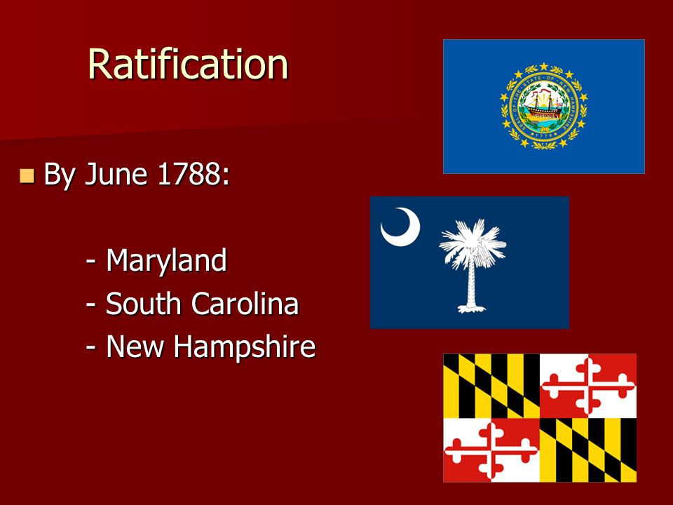 Ratification By June 1788: By June 1788: - Maryland - South Carolina - New Hampshire