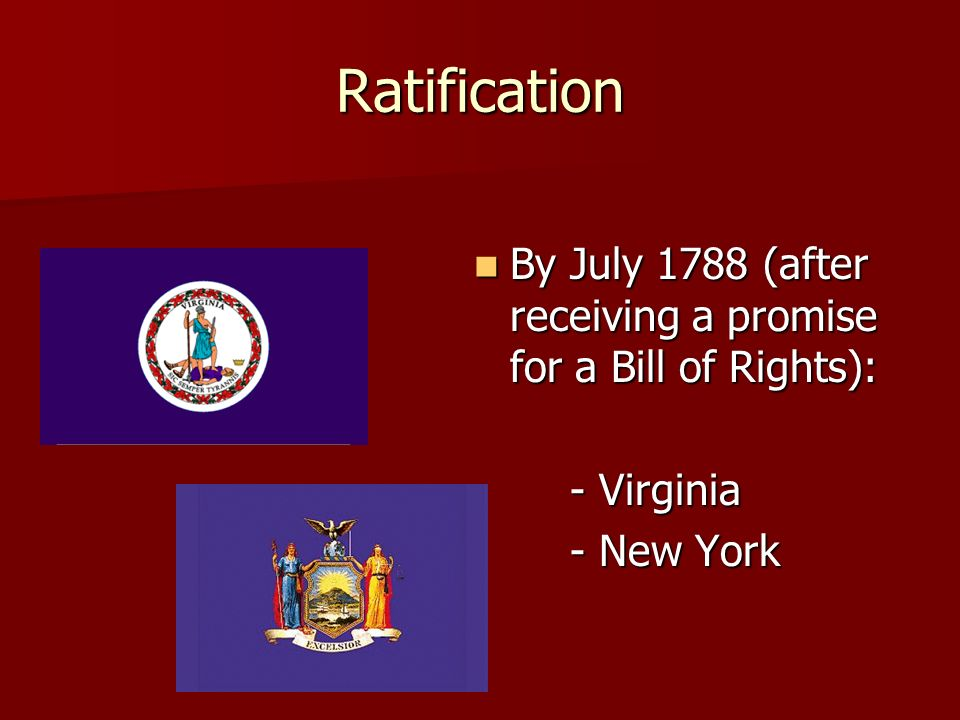 Ratification By July 1788 (after receiving a promise for a Bill of Rights): By July 1788 (after receiving a promise for a Bill of Rights): - Virginia - New York