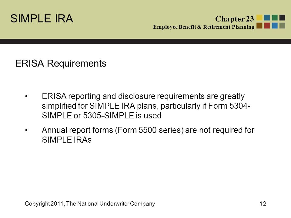 SIMPLE IRA Chapter 23 Employee Benefit & Retirement Planning ...
