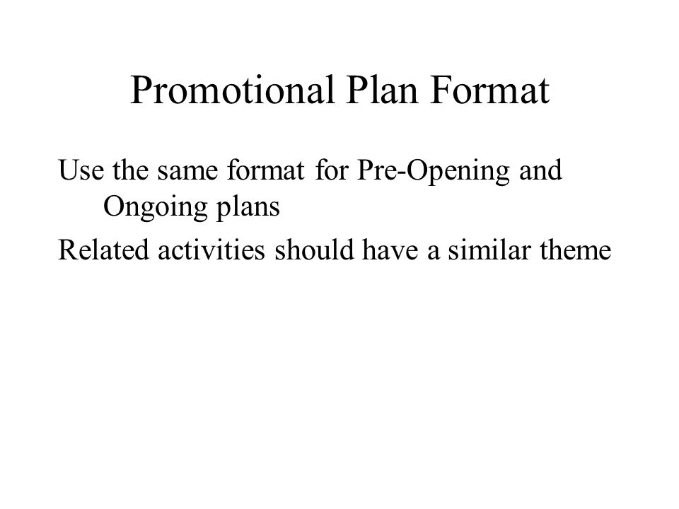 promotional plan template