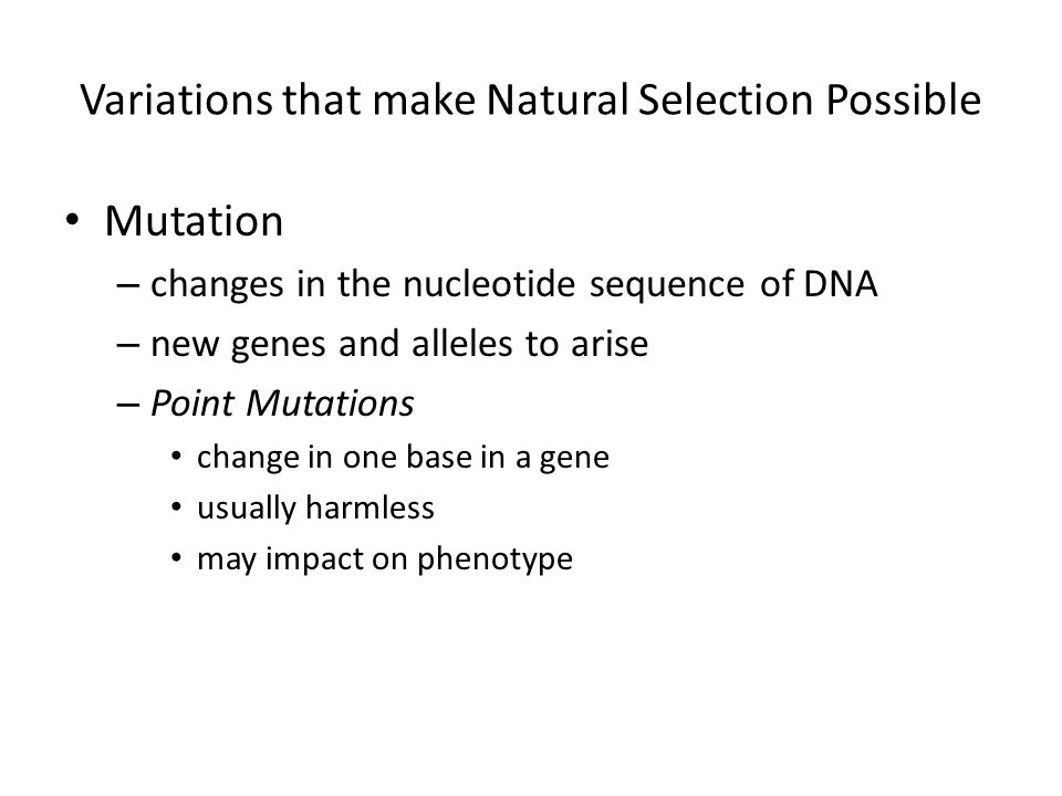 Variations that make Natural Selection Possible Mutation – changes in the nucleotide sequence of DNA – new genes and alleles to arise – Point Mutations change in one base in a gene usually harmless may impact on phenotype