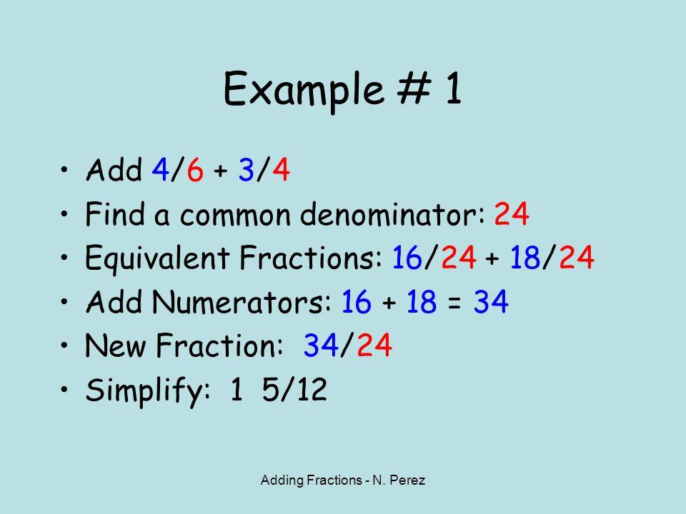4 Adding Fractions - N. ...