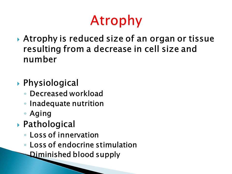  Atrophy is reduced size of an organ or tissue resulting from a decrease in cell size and number  Physiological ◦ Decreased workload ◦ Inadequate nutrition ◦ Aging  Pathological ◦ Loss of innervation ◦ Loss of endocrine stimulation ◦ Diminished blood supply