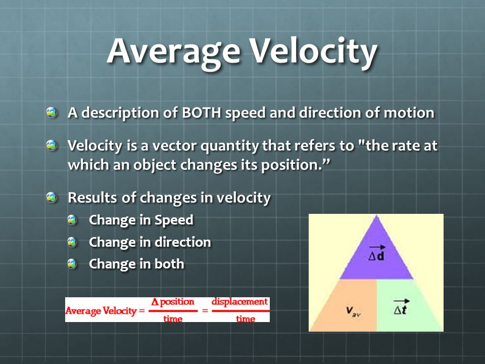 Average Velocity A description of BOTH speed and direction of motion Velocity is a vector quantity that refers to the rate at which an object changes its position. Results of changes in velocity Change in Speed Change in direction Change in both