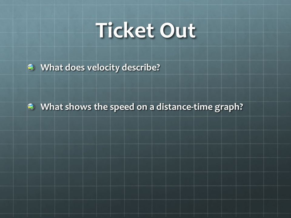 Ticket Out What does velocity describe What shows the speed on a distance-time graph