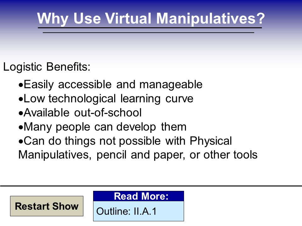 Why Use Virtual Manipulatives.