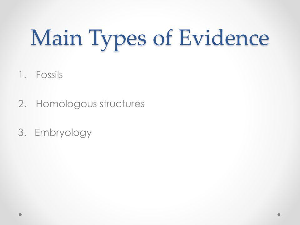 Evidence of Evolution Main Types of Evidence 1 Fossils 2 – Evidence for Evolution Worksheet