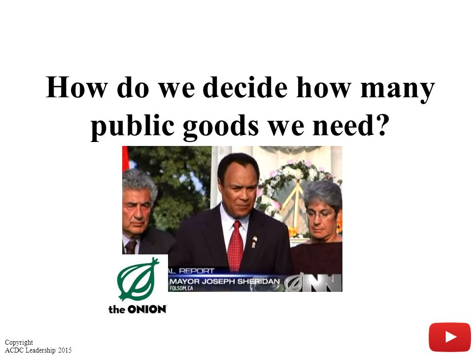 How do we decide how many public goods we need? 25 Copyright ACDC Leadership 2015