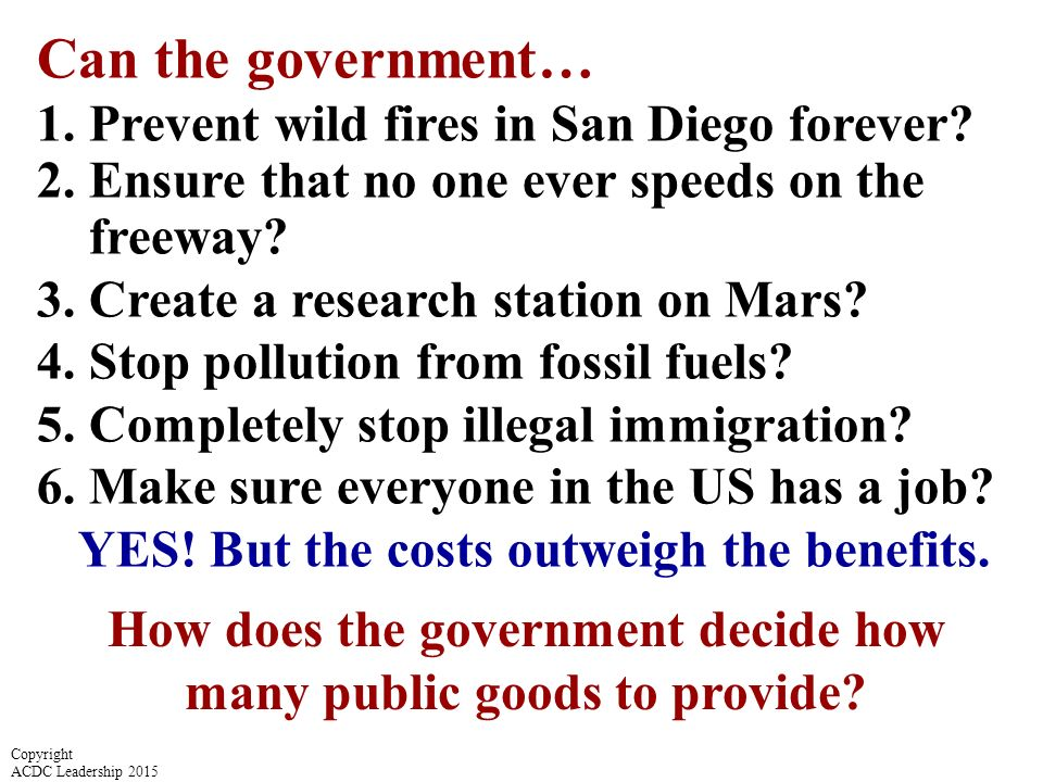 Can the government… 1.Prevent wild fires in San Diego forever.