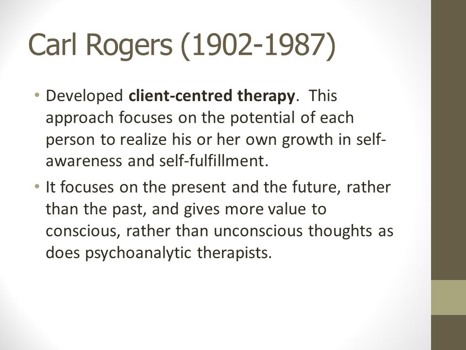 an overview of the client centered therapy developed by carl rogers